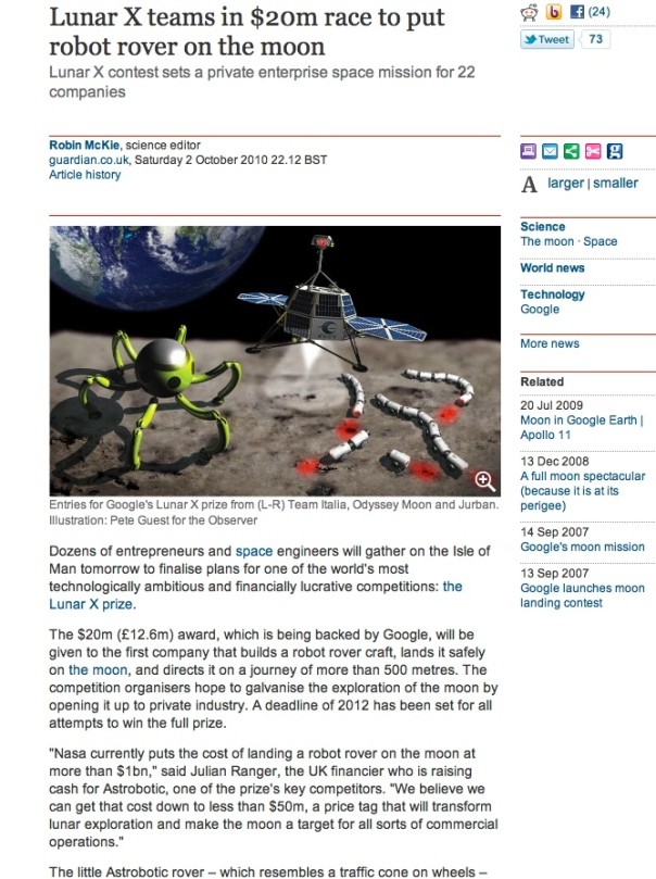 Article re Google Lunar X Prize, Astrobotic and Julian Ranger